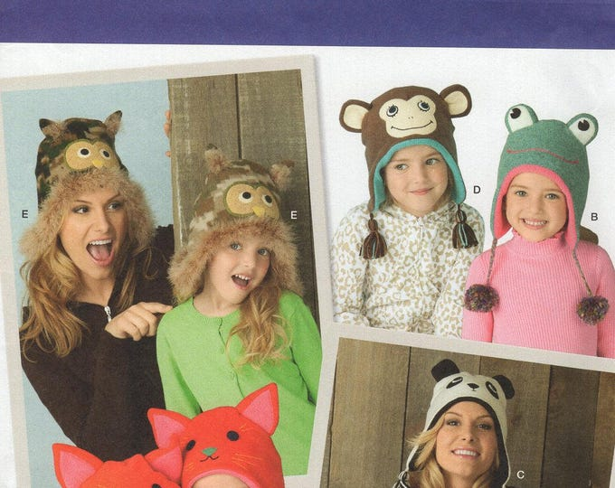 Simplicity 1953 Free Us Ship Sewing Pattern Mother Daughter Matching Fun Hats Owl Monkey Frog Cat Panda Bear Uncut