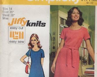 FREE US SHIP Simplicity 5556 Vintage Retro 1970's 70's Sewing Pattern Jiffy Knits Dress Tunic Pantsuit Pants Bust 36 Size 14 Uncut Wide leg