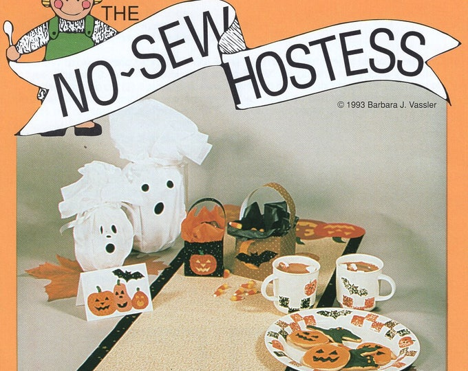 Free Us Ship HALLOWEEN Craft Sewing Pattern Little Brown House NO SEW Hostess ns207 Fusible Web Decorations Ghost Runner Placemat Plate Mugs
