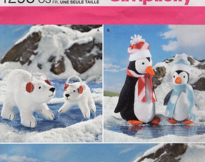Free Us Ship Craft Sewing Pattern Simplicity 1298 Betz White Plush Toy Animals Polar Bear Penguin  Baby Seals Uncut ff Out of Print