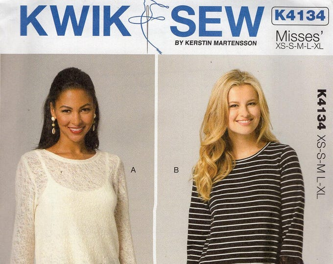 Free Us Ship Sewing Pattern Kwik Sew 4134  Misses Loose Fitting Flounce Tops Plus Size XS-XL Bust 30 32 34 36 38 40 42 44 45 Uncut 2012