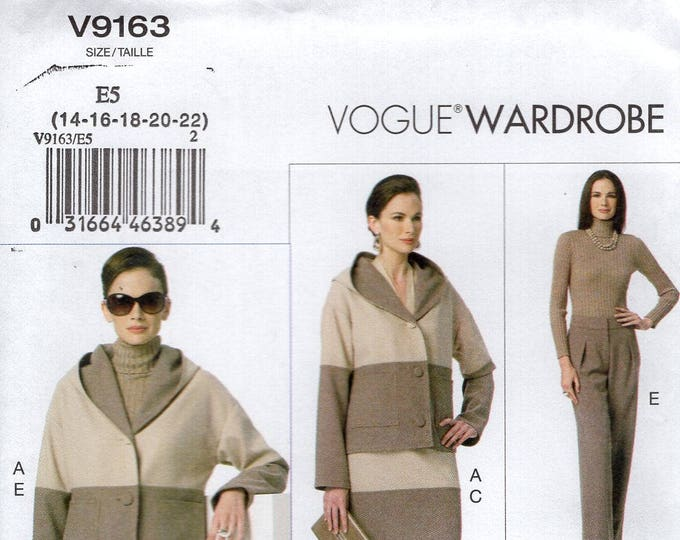 Vogue 9163 Sewing Pattern Free Us Ship Jacket Hoody Hooded Top Pants Skirt Wardrobe Size 6/14 14/22 Bust 30 32 34 36 (Last size left)