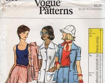 Free Us Ship Vogue 8856 Sewing Pattern Vintage Retro 1970s 70s Tank Top Pants Suit Jacket Skirt Uncut Size 10 Bust 32.5