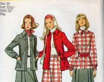 FREE US SHIP Simplicity 5455 Vintage Retro 1970's 70's Jacket Kilt Skirt Wide leg High Waist Pants Cuffed  Uncut  Sewing Pattern Bust 32.5