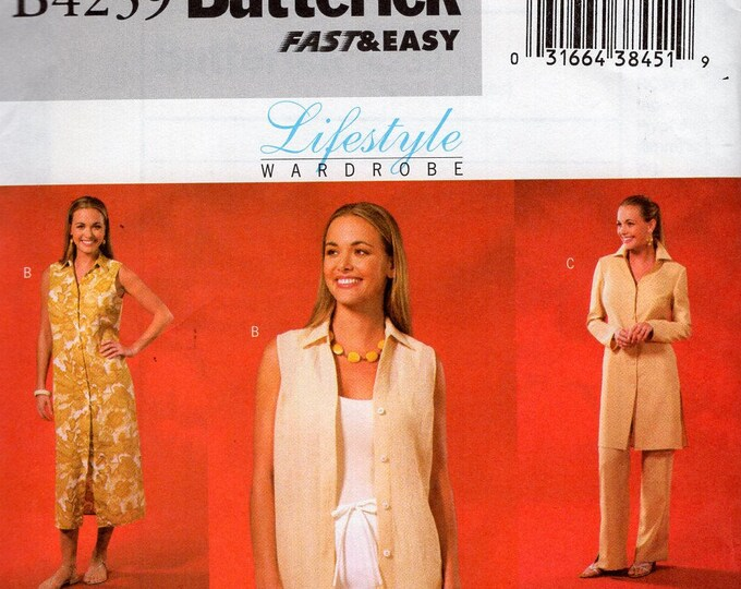 f40abd8418ec32 Free Us Ship Sewing Pattern Butterick 4239 Lifestyle Wardrobe Duster Jacket  Tunic Size 8 10 12