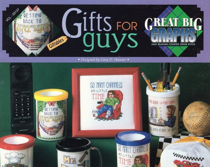 Free Us Ship X Cross Stitch Pattern Great Big Graphics Out of Print Booklet Gifts for Guys Like New 7 pages New Old Store Stock  vcl 20137