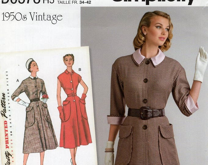 Simplicity 0578 8251 Free Us Ship Vintage 1950s Collar Cuffs Dress Detachable Reproduction Sewing Pattern  Uncut Size 16/24 Bust 38-44