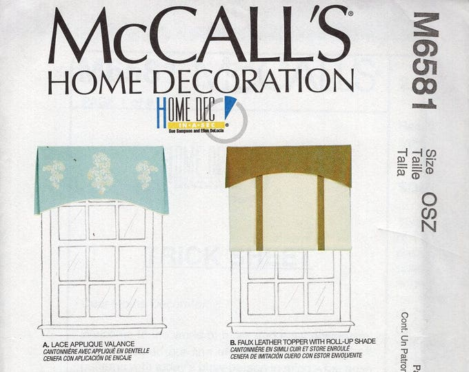 Free Us Ship McCall's 6581 Sewing Pattern Home Dec Roman Shades Button Valance Toppers Kitchen Drapes Sewing Pattern Uncut Out of Print
