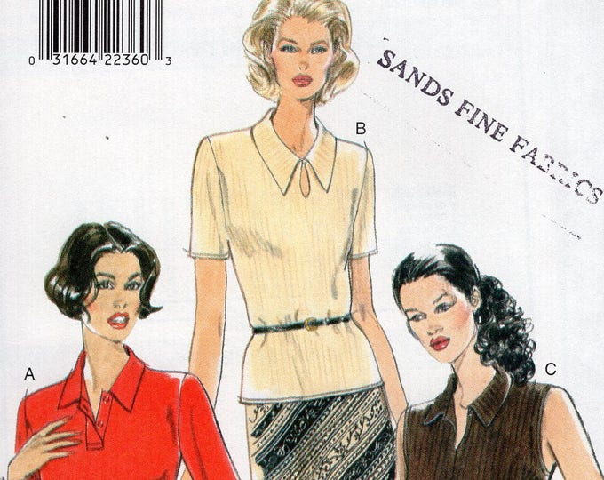 FREE US SHIP Sewing Pattern Vogue 9341 Vintage 90's Blouse Tab Peekaboo V Neck Collar Variations Size 6 8 10 Bust 30.5 31.5 32.5 New Uncut