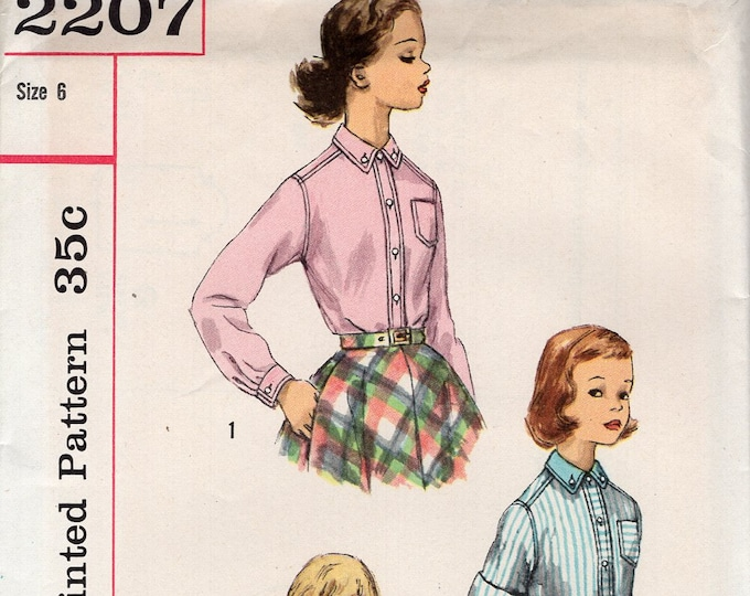 FREE US SHIP Vintage Retro 1950's 50's Sewing Pattern Simplicity 2207 Girls Set of Shirts Drawstring Uncut size 8 Breast 24