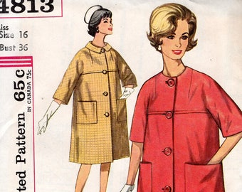 FREE US SHIP Original Uncut Simplicity 4813 Retro 1960's 60s Yoked Kimono Sleeve Coat Jackie Bust 36 Miss Sewing Pattern