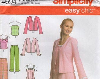 Free Us Ship Simplicity 4694 Sewing Pattern Miss  Easy Chic Dress Jacket Matching Purse Bag Tote Size 6/12 6 8 10 12 Bust 30 32 34 New