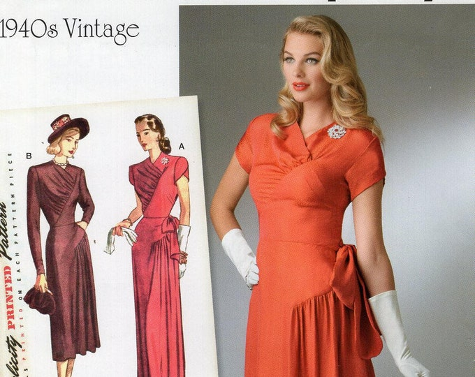 Simplicity 0576 8249 Free Us Ship Vintage 1940's Dress Evening Length Formal Reproduction Sewing Pattern Uncut Size 6-22 Bust 30-44 New Plus