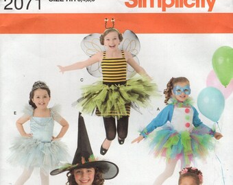FREE US SHIP Sewing Pattern Simplicity 2071 Girls Halloween Costume Princess  Witch Ballet Fairy Bee dress Size 3-6 Uncut Size 3 4 5 6 New