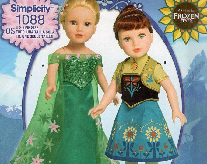 """Simplicity 1088 Free Us Ship 18"""" Doll Clothes Wardrobe Disney Frozen Costume New Sewing Pattern Fits American Girl Out of Print Uncut New"""