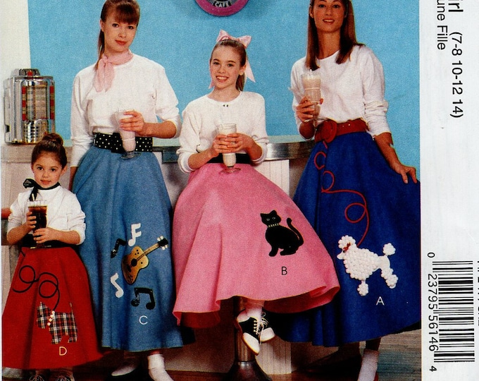 FREE US SHIP Sewing Pattern McCall's 247 313 6101 Halloween Costume Poodle Skirt Sock Hop Rockabilly Cat Dog Size 3 4 5 6, 7 8 10 12 14 new