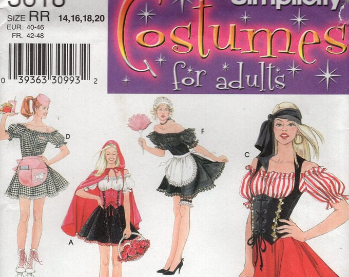 Free Us Ship Simplicity 3618 Sewing Pattern  Miss Nurse Maid Pirate Sexy Dress Costume Size 6/12 14/20 Bust 30 32 34 36 38 40 42 New