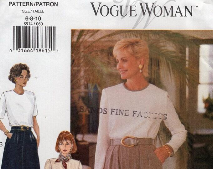 Free Us Ship Sewing Pattern Vogue 8914 Vintage  90's Soft Pleat Skirt Pants Size 6 8 10 Waist 23 24 25 1990's New Uncut