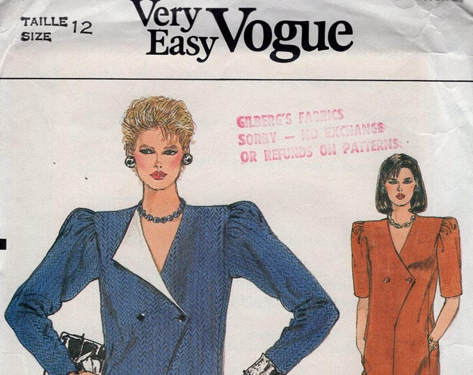 Free Us Ship Sewing Pattern Vogue 8930 Vintage Retro 1980s 80s Double Breasted Coatdress Dress Shoulder pads Size 12 Bust 34 Uncut