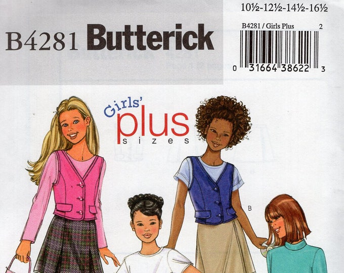 Butterick 4281 Free Us Ship  Girls Plus Vest Inverted Pleat Skirt Skort Sewing Pattern Out of Print Size  10.5 12.5 14.5 15.5 16.5