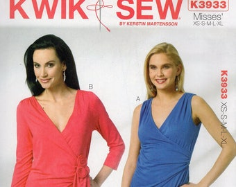 Free Us Ship Sewing Pattern Kwik Sew 3933 Misses Knit Wrap Tops Plus Size XS-XL Bust 30 32 34 36 38 40 42 44 45 Uncut 2012