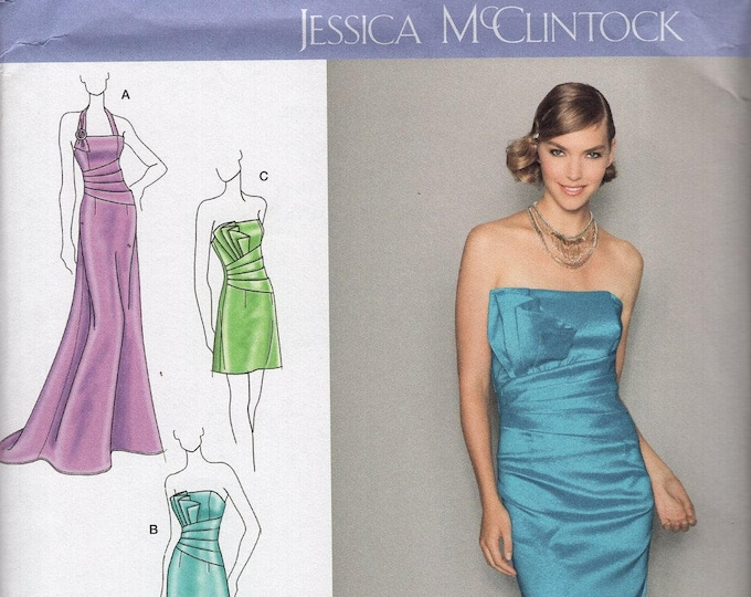 FREE US SHIP Simplicity 2253 Jessica McClintock Prom Evening Length Dress Gown Size 4 6 8 10 12, Bust 29 30 32 34  Uncut Sewing Pattern