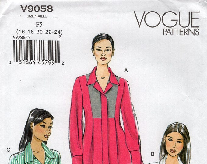 FREE US SHIP Vogue 9058 Sewing Pattern Tunic Pleated Blouse tops Size 8/16 16/24  Bust 30 32 34 36  38 40 42 44 46 new Out of Print