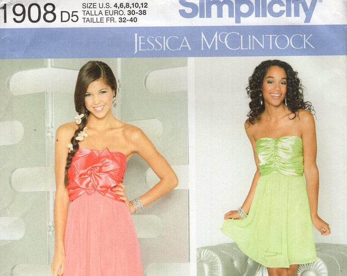 FREE US SHIP Simplicity 1908 Jessica McClintock Prom Evening Length Dress Gown Strapless Size 4-12, 12-20  Bust 29-42 Uncut Sewing Pattern