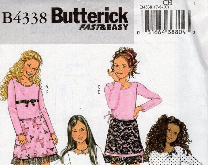 ea5656d599f2f0 Butterick 4338 Sewing Pattern Free Us Ship Girls Top Skirt Bell Bottom wide  leg pants Tshirt