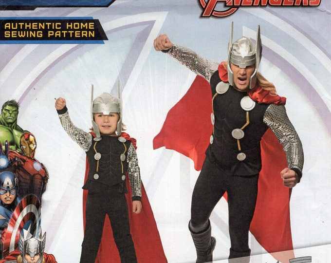 FREE US SHIP Simplicity 1038 Sewing Pattern Avengers Adult Kid Father Son Costume Helmet Cape Shoe Spats Kids 3-8 Men Chest: 34-48 Uncut New