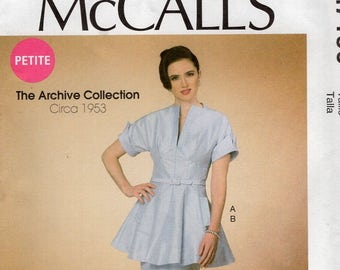 McCall's 7190 Free Us Ship Sewing Pattern Vintage Retro 1950s 50s 1953 Peplum Dress Size 6/14 14/22 Plus Bust 30 31 32 34 36 38 40 42 44 New