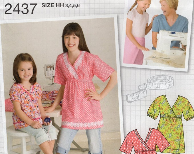 0222369f30bf4d FREE US SHIP Sewing Pattern Simplicity 2437 Uncut Girls Learn to Sew East  Kimono Tops Blouse