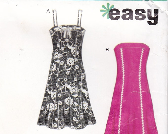FREE US SHIP New Look 6468 Easy Strapless Dress Top Pants Shorts Uncut Size 6/16 Out of Print Sewing Pattern Bust  30 32 34 36 38  Plus Size