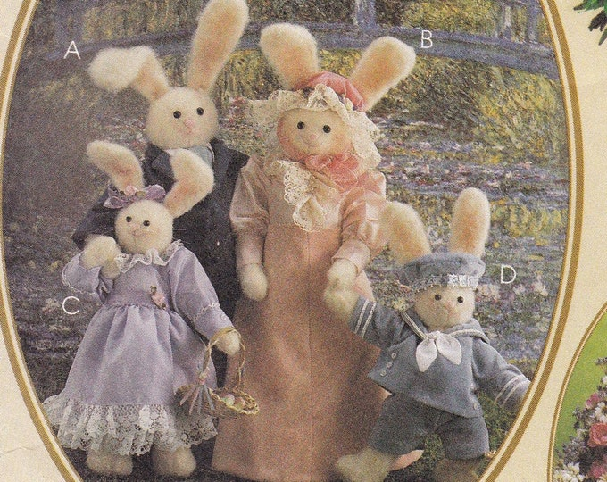 Free Us Ship Craft Sewing Pattern Uncut McCall's 9209 Easter Mr Mrs Family Bunny Rabbit Dolls with clothes Joanne Beretta Out of Print 1997