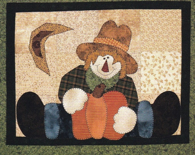 Free Us Ship Thanksgiving Halloween Craft Sewing Pattern Quilt Whimsey The Wooden Bear Straddling Scarcrow Pumpkin Applique 2003 Designer