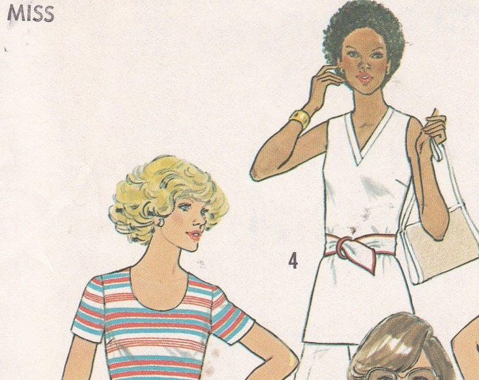 FREE US SHIP Simplicity 7980 Vintage Retro 1970s 70's Uncut Size 10 Bust 32.5 Slim Knit Fit Tops Neck Variations TanV Neck Scoop Collar