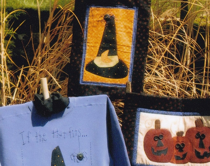 Free Us Ship HALLOWEEN Craft Sewing Pattern Bloomin Minds If the Hat Fits Witches Hat Quilt Applique Pumpkin Trio Primitive 2003