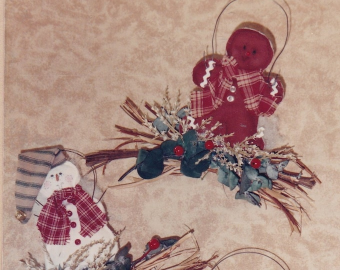 FREE US SHIP Out of Print Unused Craft Christmas Santa Claus Pearl Louise Designs Twiglees 161 Ornaments Snowman Gingerbread Man Angel