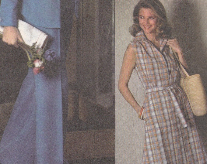 FREE US SHIP Simplicity 8019 Vintage Retro 1970's 70's Sewing Pattern Dress Top Jacket  Skirt Designer Fashion Size 16 Bust 38 Uncut
