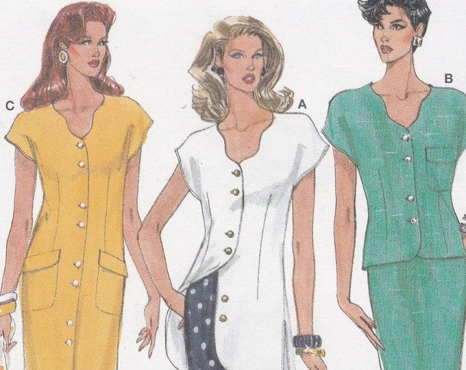 FREE US SHIP Burda 3974 Retro 90's Top Skirt Dress Shirtdress Dress Size 10 12 14 16 18 20 Uncut Bust 32 34 36 38 40 42 Sewing Pattern