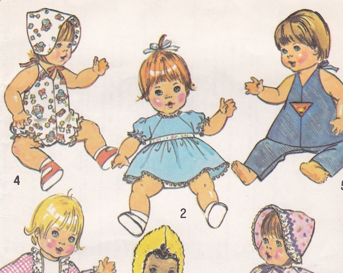 """FREE US SHIP Simplicity 7208 Vintage Retro 1970s 70s  Sewing Pattern Babydoll Doll Clothes Wardrobe Uncut Size 15 16"""" Factory Folded"""