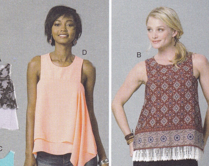 FREE US SHIP McCalls 7389 Draped Sleeveless Top Layers Easy Sewing Pattern Size 6 8 10 12 14 16 18 20 22 Bust 30 32 34 36 38 40 42 44ff