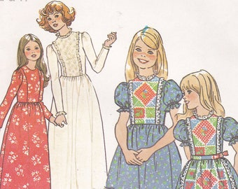FREE US SHIP Simplicity 7242 Girls Apron Mini Maxi Dress Uncut Size 6,10,12 14  Vintage Retro 1970s 70s Sewing Pattern Factory Folded