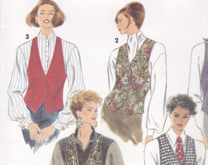 FREE US SHIP Simplicity 8029 Retro 1990s 90's Vest Tuxedo Double Breasted Size 6 8 10 Bust 30.5 31.5 32.5 Small Factory Folded