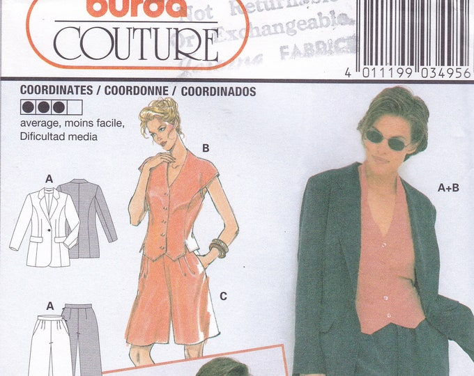 FREE US SHIP Sewing Pattern Burda 3495 Size 10 12 14 16 18 20 Bust 32 34 36 38 40 42 Plus UncutJacket top pants Loose Fitting Uncut Couture