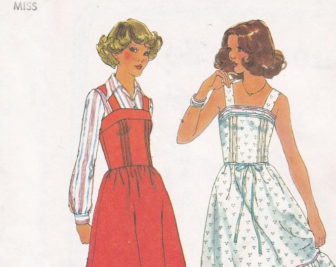 FREE US SHIP Simplicity 8015 Vintage Retro 1970s 70's Uncut Size 10 Bust 32.5  Summer Dress Jumper Strap Ruffles Seamed