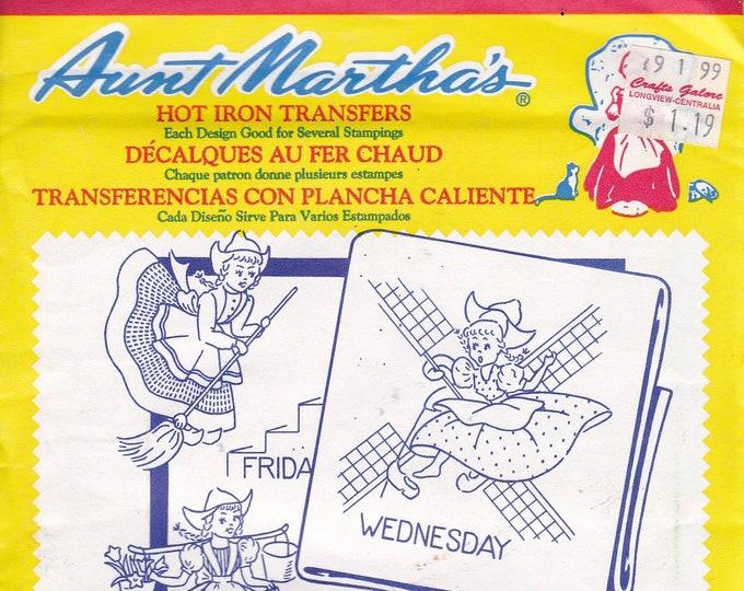 FREE US SHIP Vintage Retro Aunt Martha's Hot Iron Transfer #3597 Dutch Girl Tea Towel Designs Sealed in Pkg Embroidery Needlework