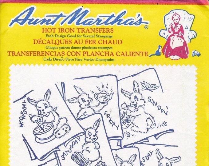 FREE US SHIP Vintage Retro Aunt Martha's Hot Iron Transfer 675 Rabbit Bunny Tea Towels Designs Sealed in Pkg Embroidery Needlework