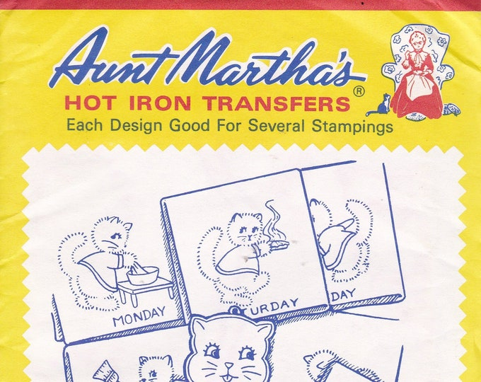 FREE US SHIP Vintage Retro Aunt Martha's Hot Iron Transfer 129 Eight Kitten Motifs Cats Tea Towel Designs Sealed Pkg Embroidery Needlework