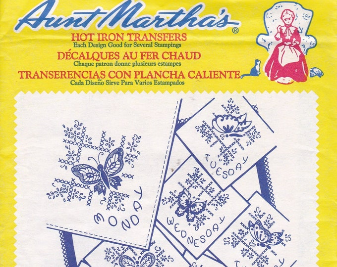 FREE US SHIP Vintage Retro Aunt Martha's Hot Iron Transfer # 3437 Butterflies for Linens Tea Towel Designs Sealed Pkg Embroidery Needlework